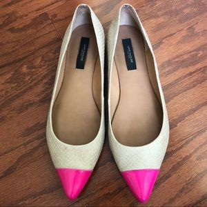 Ann Taylor Neon Leather Cap Toe Pointed Flats, 7.5
